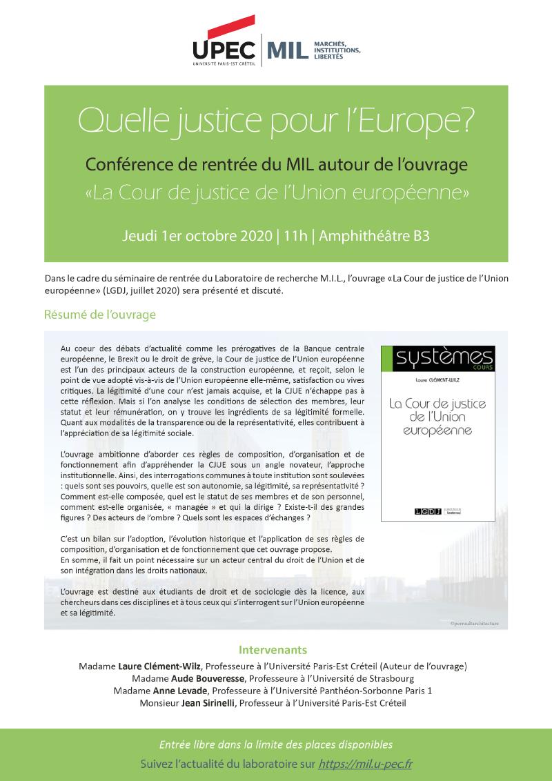 """Affiche Présentation de l'ouvrage """"La Cour de justice de l'Union Européenne"""" (Laure Clément-Wilz)"""